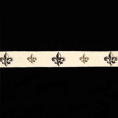 3/4'' Woven Ribbon Fleur De Lis Ivory