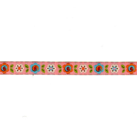 3/8'' Dena Designs Happi Flowers Ribbon Pink