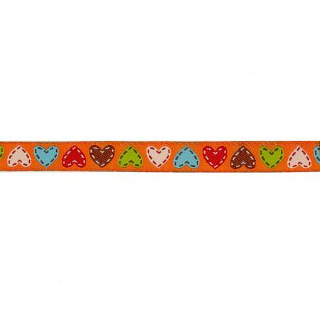 3/8'' Dena Designs Happi Hearts Ribbon Orange