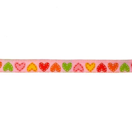 3/8'' Dena Designs Happi Hearts Ribbon Pink