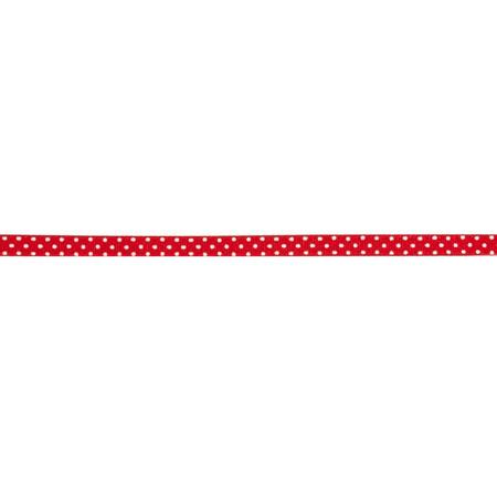 3/8'' Grosgrain Swiss Dot Ribbon Red