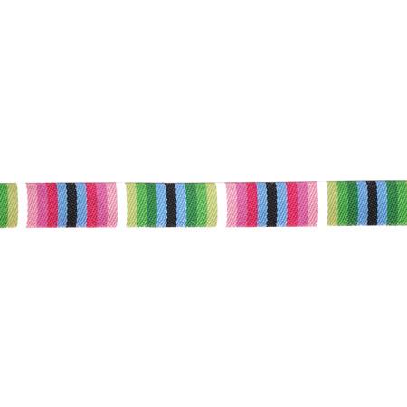 3/8'' Jane Sassaman Black/Pink/Blue Fiesta Stripe Ribbon Fabric