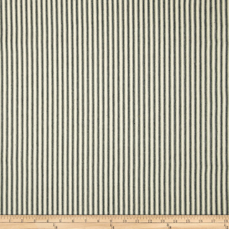 44'' Ticking Stripe Black Fabric By The Yard