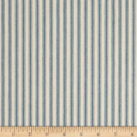 44'' Ticking Stripe Canvas Twill Denim Blue Fabric By The Yard