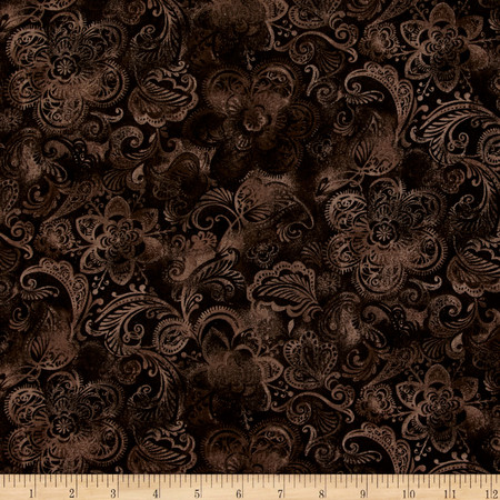 44'' Wide Quilt Fleur Brown Fabric By The Yard