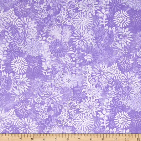 44'' Wide Quilt Packed Floral Purple Fabric By The Yard