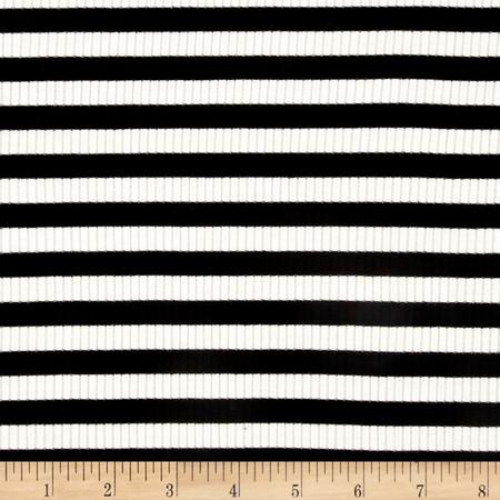 4X2 Rib Knit Medium Stripe Ivory/Black Fabric By The Yard