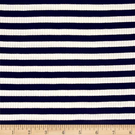 4X2 Rib Knit Medium Stripe Ivory/Navy Fabric By The Yard