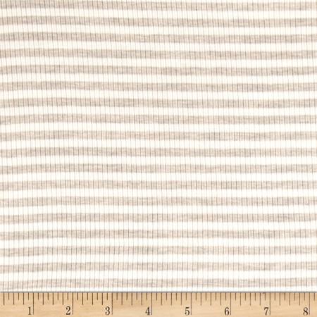 4X2 Rib Knit Small Stripe Ivory/Oatmeal Fabric By The Yard