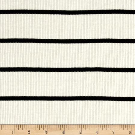 4X2 Rib Knit Stripe Ivory/Black Fabric By The Yard