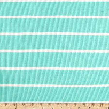 4X2 Rib Knit Stripe Mint/Ivory Fabric By The Yard