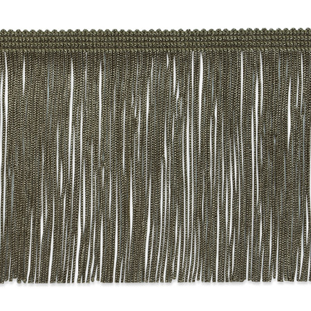 4'' Chainette Fringe Trim Taupe Fabric