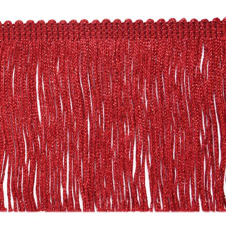 4'' Metallic Chainette Fringe Trim Red