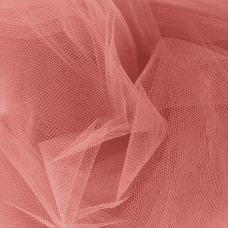 54'' Wide Tulle Coral Fabric By The Yard