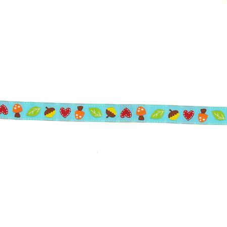 5/8'' Dena Designs Mushrooms & Acorns Ribbon Turquoise