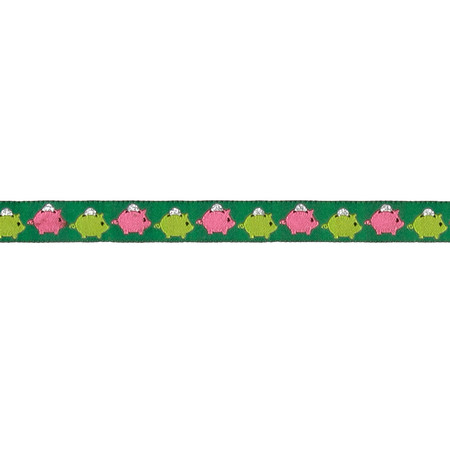 5/8'' Piggy Bank Ribbon Green