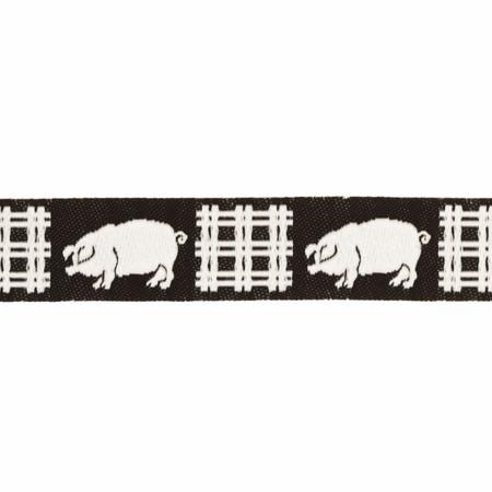 5/8'' Ribbon Pigs Black/White Fabric