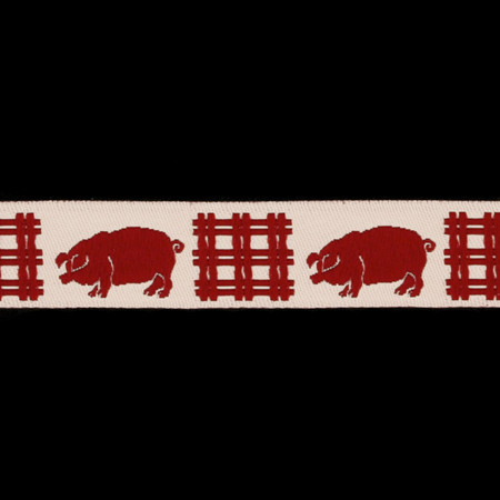 5/8'' Ribbon Pigs Red/Cream Fabric By The Yard