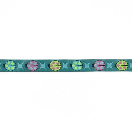 5/8'' Tula Pink Blue Ladybugs Ribbon Fabric By The Yard