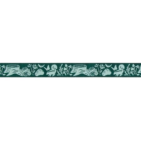 5/8'' Tula Pink Indigo Meadow Aqua Ribbon Dark Green