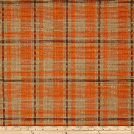 60'' Sultana Burlap Plaid Orange Fabric By The Yard