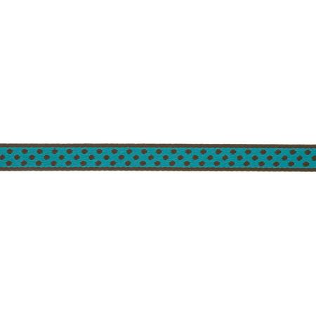 7/16'' Ribbon Polka Dot Hot Turquoise/Brown