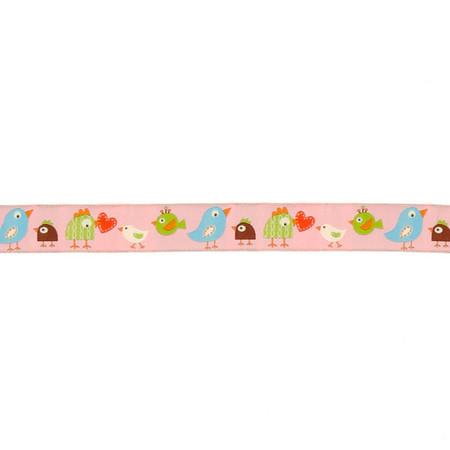 7/8'' Dena Designs Happi Birds Ribbon Pink