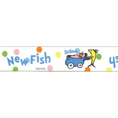 7/8'' Dr. Seuss Baby New Fish Ribbon White