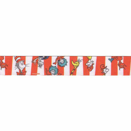 7/8'' Dr. Seuss Character Stripe Ribbon Red