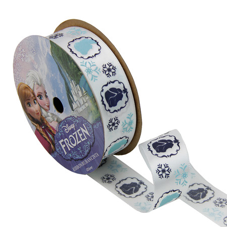 7/8'' Frozen Ribbon Royal Characters White 3YD Spool