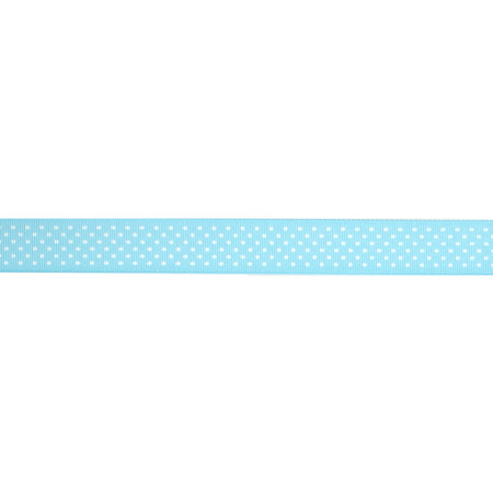 7/8'' Grosgrain Swiss Dot Ribbon Ocean White