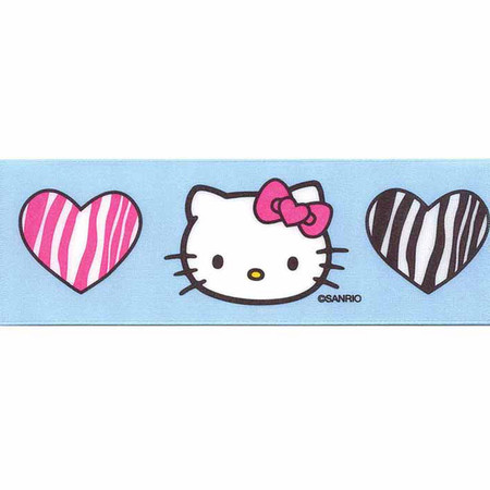 7/8'' Hello Kitty Zebra Hearts Ribbon Blue