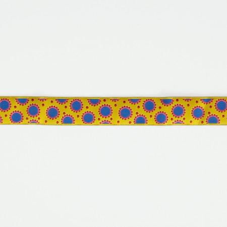 7/8'' Jane Sassaman Yellow & Blue Dotty Dots Ribbon Fabric By The Yard