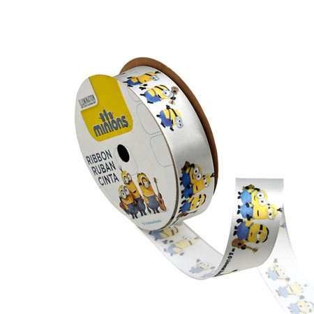 7/8'' Minions Ribbon 3D Grey