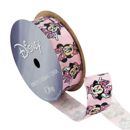 7/8'' Minnie Mouse Ribbon Bow Poses Pink