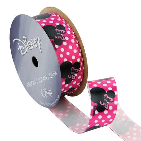 7/8'' Minnie Mouse Ribbon Dot Silouhette Pink