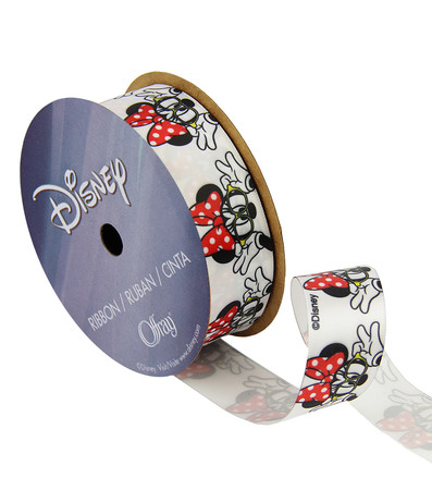 7/8'' Minnie Mouse Ribbon with Glasses White