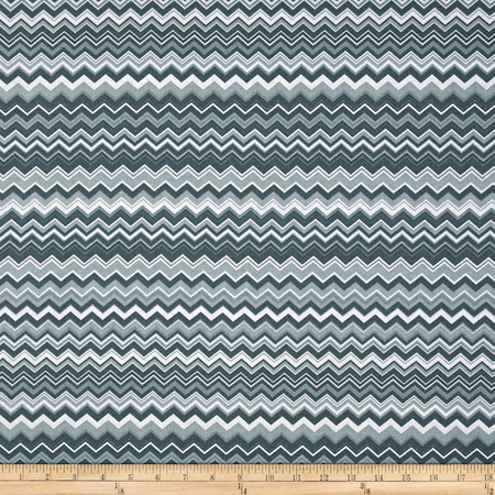 A.E. Nathan Chevron Grey/Charcoal/White Fabric By The Yard