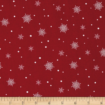 A Christmas To Remember Snowflake Red Fabric By The Yard