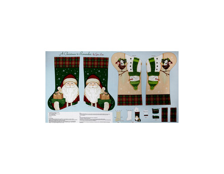 A Christmas To Remember Stocking 24 In. Panel Light Blue Fabric By The Yard