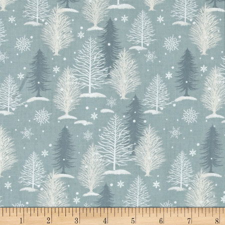 A Christmas To Remember Tree Allover Light Blue Fabric By The Yard