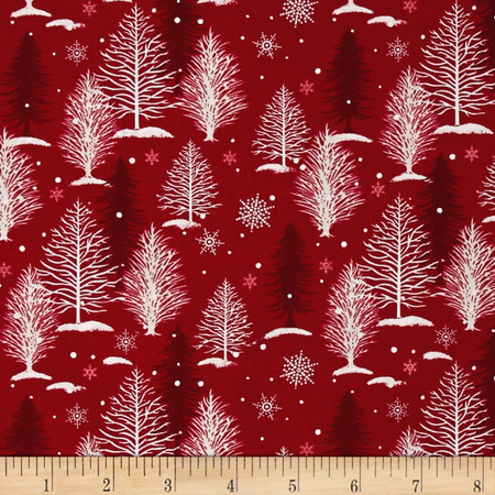 A Christmas To Remember Tree Allover Red Fabric By The Yard