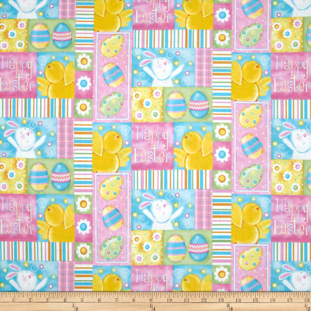 A Joyful Easter Happy Easter Patchwork Multi Fabric