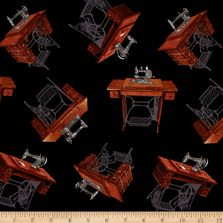A Stitch in Time Sewing Machine Black Fabric