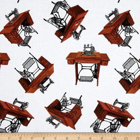 A Stitch in Time Sewing Machine White Fabric