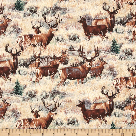 A Wild Life Mule Deer Gold Fabric By The Yard