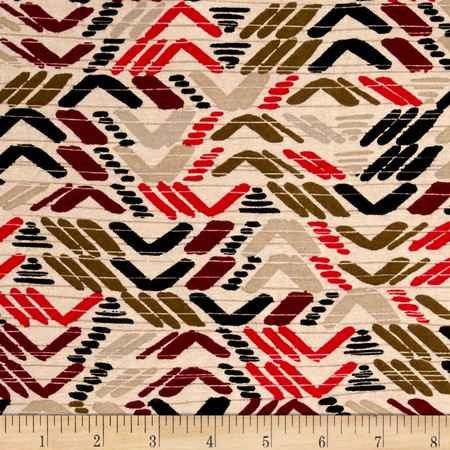 Abstract Triangles Span Jersey Port/Olive Fabric By The Yard