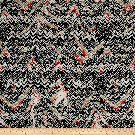Abstract Zig Zag Dobby Crepe Print Black/Cherry Fabric By The Yard