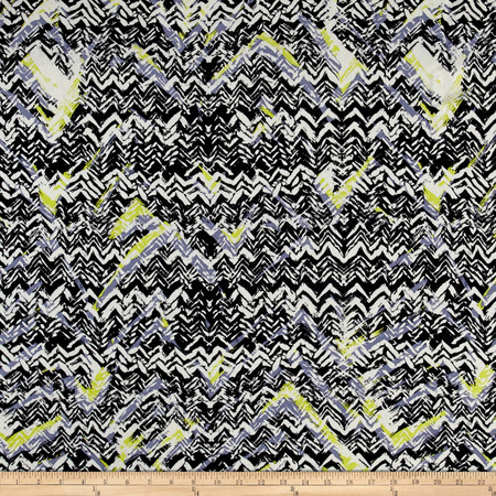 Abstract Zig Zag Dobby Crepe Print Black/Citron Fabric By The Yard