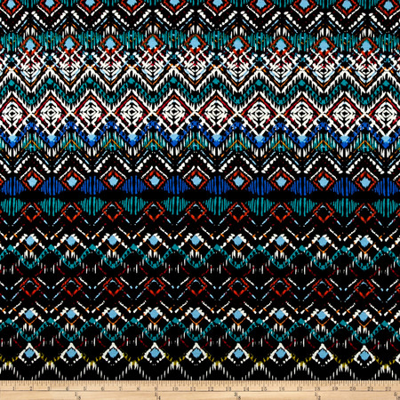 Abstract Zig Zag Jersey Knit Print Black/Atlantis Fabric By The Yard